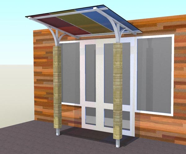 Rendered CAD drawing of the Canopy, displaying a variety of coloured polycarbonate sheets