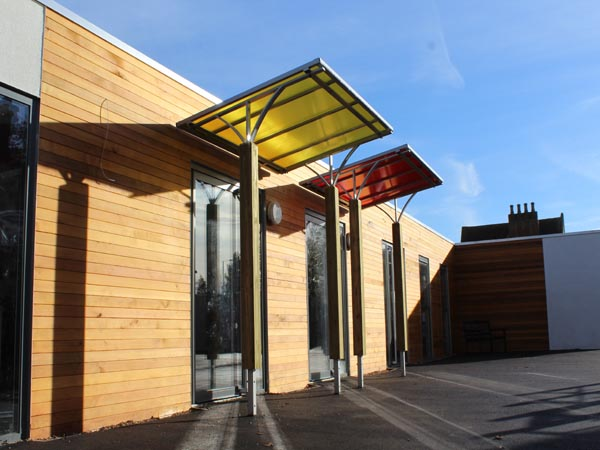 The finished article. Two Rainbow Canopies at Cotton End Primary School